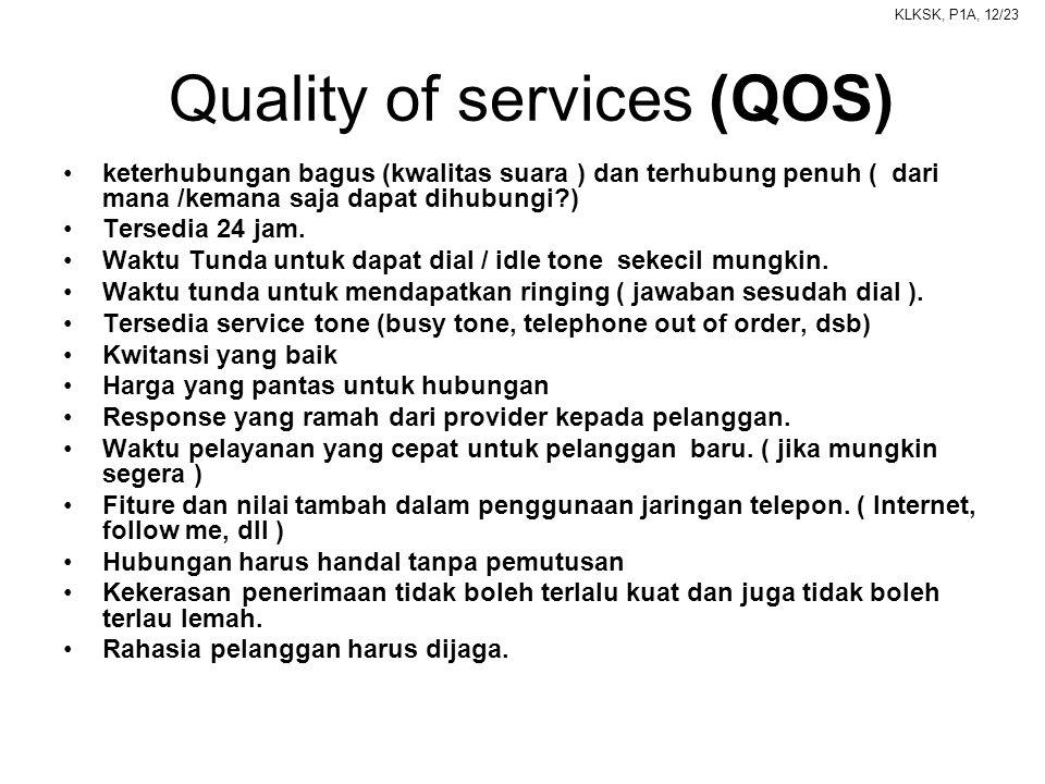 KLKSK, P1A, 12/23 Quality of services (QOS) •keterhubungan bagus (kwalitas suara ) dan terhubung penuh ( dari mana /kemana saja dapat dihubungi?) •Ter