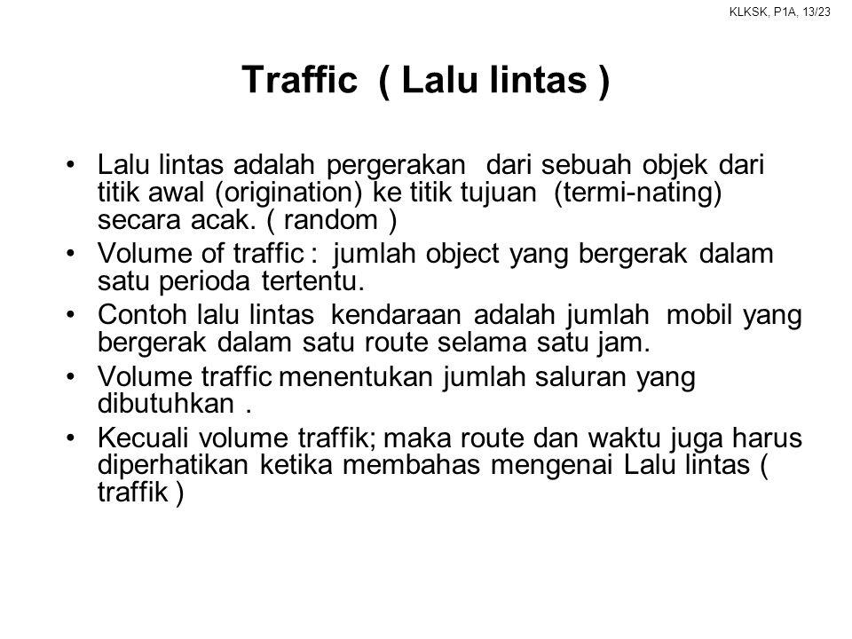 KLKSK, P1A, 13/23 Traffic ( Lalu lintas ) •Lalu lintas adalah pergerakan dari sebuah objek dari titik awal (origination) ke titik tujuan (termi-nating