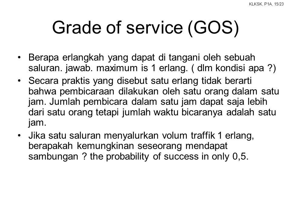 KLKSK, P1A, 15/23 Grade of service (GOS) •Berapa erlangkah yang dapat di tangani oleh sebuah saluran. jawab. maximum is 1 erlang. ( dlm kondisi apa ?)