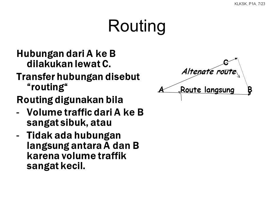"""KLKSK, P1A, 7/23 Routing Hubungan dari A ke B dilakukan lewat C. Transfer hubungan disebut """"routing"""" Routing digunakan bila -Volume traffic dari A ke"""