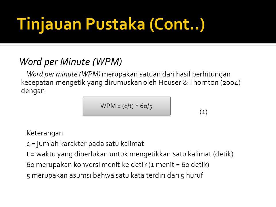Word per Minute (WPM) Word per minute (WPM) merupakan satuan dari hasil perhitungan kecepatan mengetik yang dirumuskan oleh Houser & Thornton (2004) d