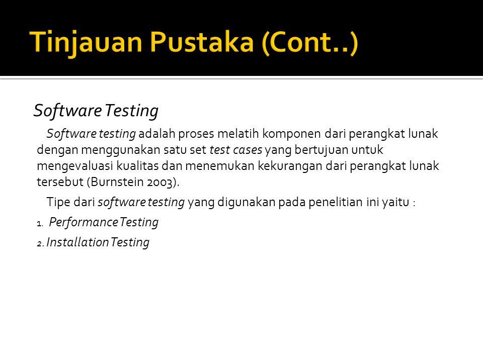 Software Testing Software testing adalah proses melatih komponen dari perangkat lunak dengan menggunakan satu set test cases yang bertujuan untuk mengevaluasi kualitas dan menemukan kekurangan dari perangkat lunak tersebut (Burnstein 2003).