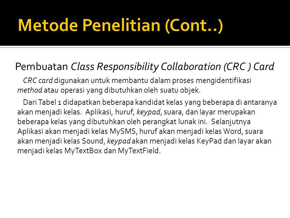 Pembuatan Class Responsibility Collaboration (CRC ) Card CRC card digunakan untuk membantu dalam proses mengidentifikasi method atau operasi yang dibutuhkan oleh suatu objek.