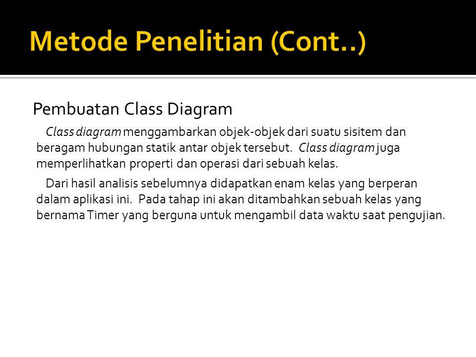 Pembuatan Class Diagram Class diagram menggambarkan objek-objek dari suatu sisitem dan beragam hubungan statik antar objek tersebut.