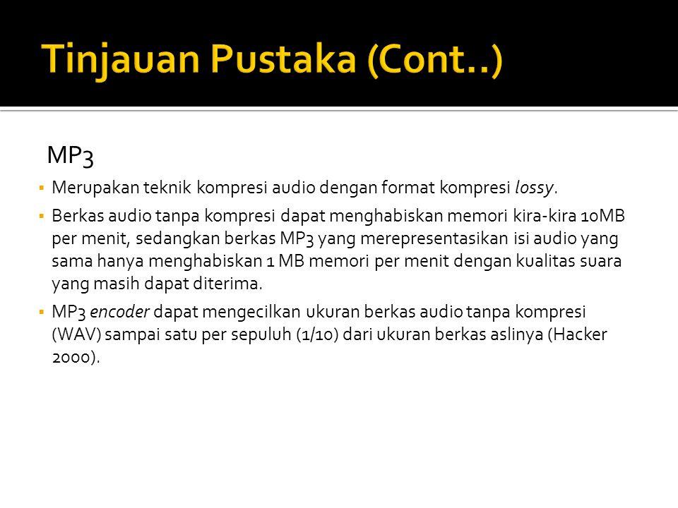MP3  Merupakan teknik kompresi audio dengan format kompresi lossy.
