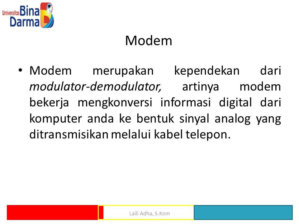 Modem • Modem merupakan kependekan dari modulator-demodulator, artinya modem bekerja mengkonversi informasi digital dari komputer anda ke bentuk sinya