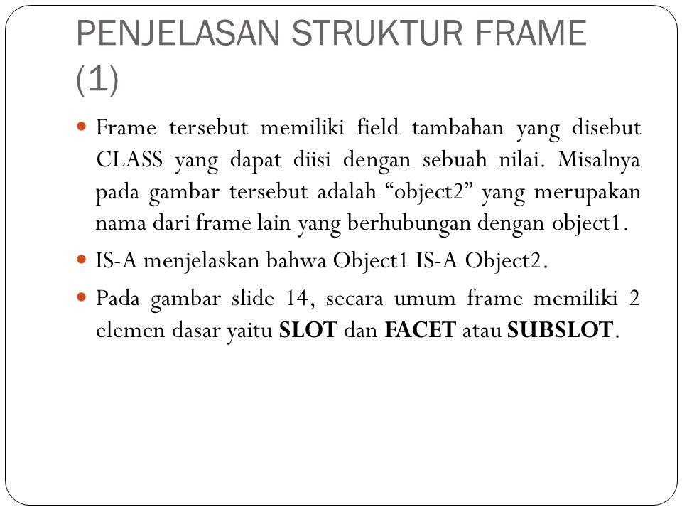 PENJELASAN STRUKTUR FRAME (2)  Slot  kumpulan atribut atau properti yang menjelaskan objek yang direpresentasi oleh frame.