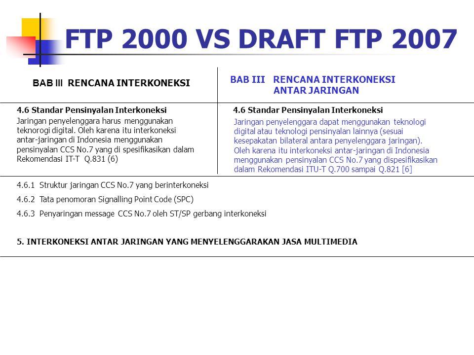 FTP 2000 VS DRAFT FTP 2007 BAB III RENCANA INTERKONEKSI ANTAR JARINGAN 4.6 Standar Pensinyalan Interkoneksi Jaringan penyelenggara harus menggunakan t