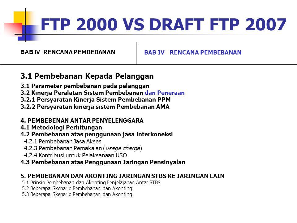 FTP 2000 VS DRAFT FTP 2007 BAB IV RENCANA PEMBEBANAN 3.1 Pembebanan Kepada Pelanggan 3.1 Parameter pembebanan pada pelanggan 3.2 Kinerja Peralatan Sis