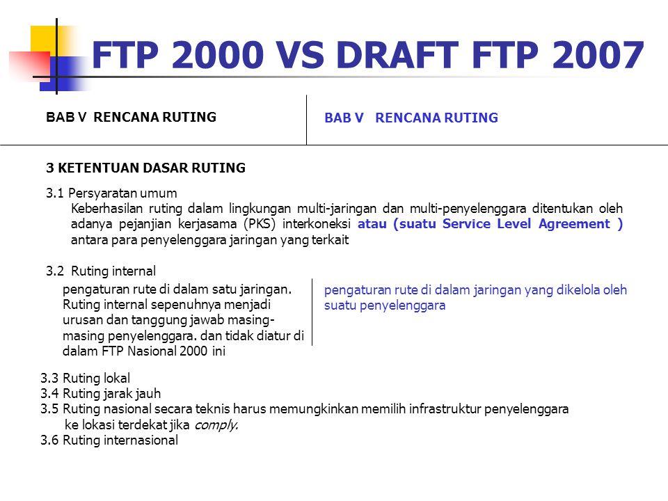 FTP 2000 VS DRAFT FTP 2007 BAB V RENCANA RUTING 3 KETENTUAN DASAR RUTING 3.1 Persyaratan umum Keberhasilan ruting dalam lingkungan multi-jaringan dan