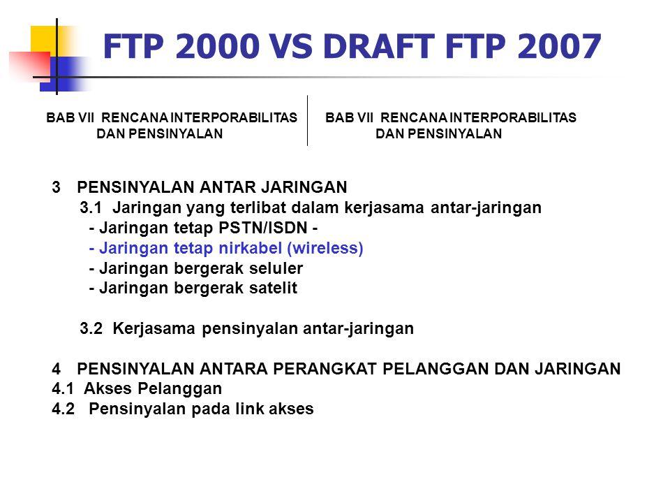 FTP 2000 VS DRAFT FTP 2007 BAB VII RENCANA INTERPORABILITAS DAN PENSINYALAN BAB VII RENCANA INTERPORABILITAS DAN PENSINYALAN 3PENSINYALAN ANTAR JARING