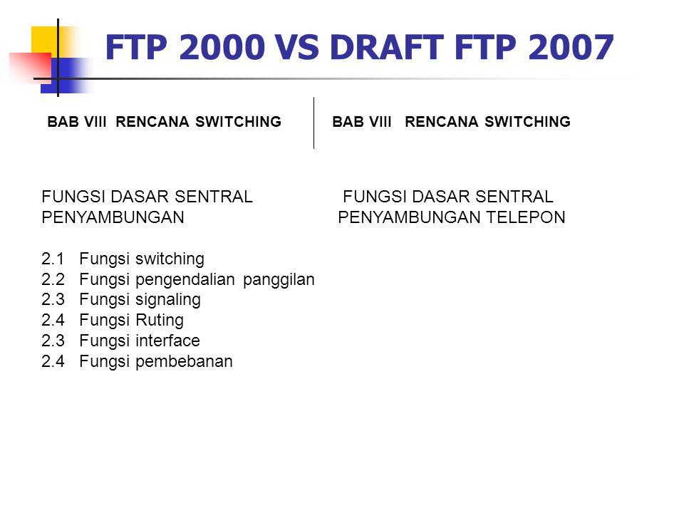 FTP 2000 VS DRAFT FTP 2007 BAB VIII RENCANA SWITCHING FUNGSI DASAR SENTRAL PENYAMBUNGAN 2.1 Fungsi switching 2.2 Fungsi pengendalian panggilan 2.3 Fun