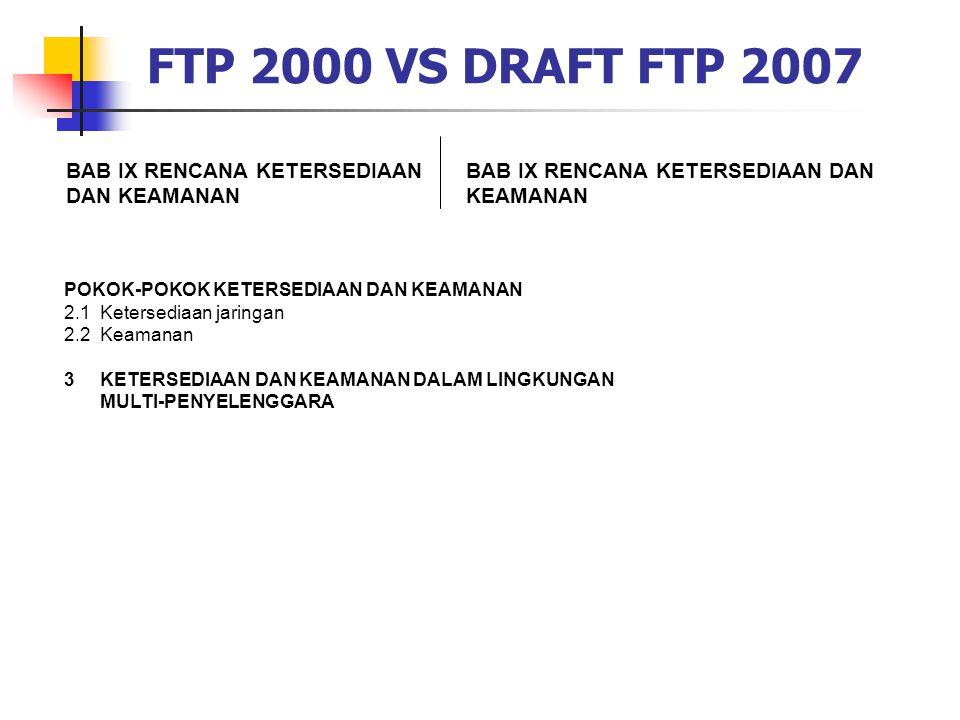 FTP 2000 VS DRAFT FTP 2007 BAB IX RENCANA KETERSEDIAAN DAN KEAMANAN POKOK-POKOK KETERSEDIAAN DAN KEAMANAN 2.1Ketersediaan jaringan 2.2Keamanan 3KETERS