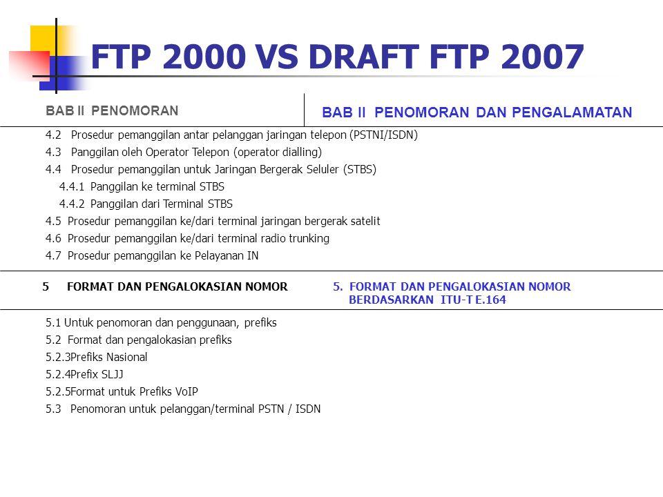 FTP 2000 VS DRAFT FTP 2007 BAB II PENOMORAN BAB II PENOMORAN DAN PENGALAMATAN 4.2 Prosedur pemanggilan antar pelanggan jaringan telepon (PSTNI/ISDN) 4