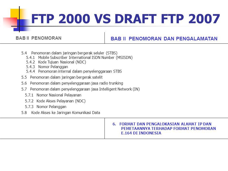 FTP 2000 VS DRAFT FTP 2007 5.4 Penomoran dalam jaringan bergerak seluler (STBS) 5.4.1 Mobile Subscriber International ISDN Number (MSISDN) 5.4.2 Kode