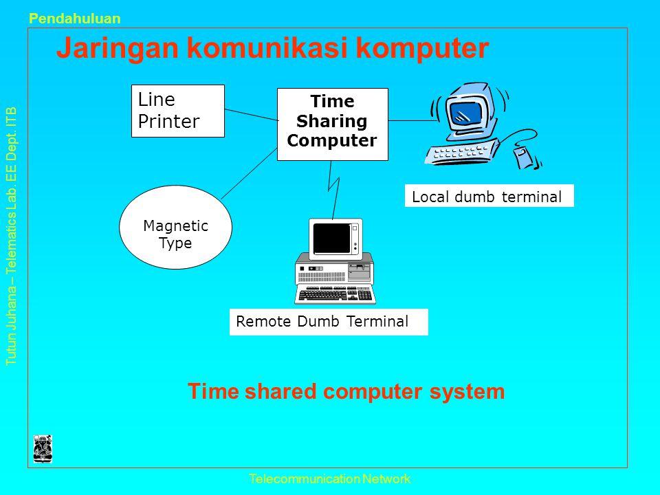 Tutun Juhana – Telematics Lab. EE Dept. ITB Pendahuluan Telecommunication Network Jaringan komunikasi komputer Time shared computer system Line Printe