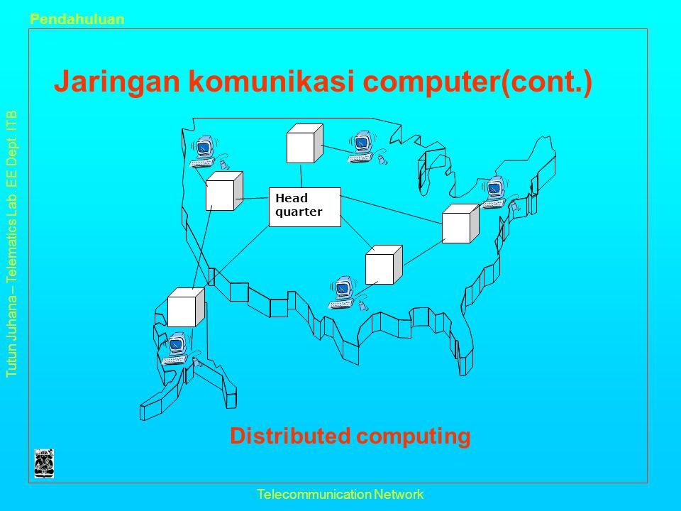 Tutun Juhana – Telematics Lab. EE Dept. ITB Pendahuluan Telecommunication Network Jaringan komunikasi computer(cont.) Distributed computing Head quart
