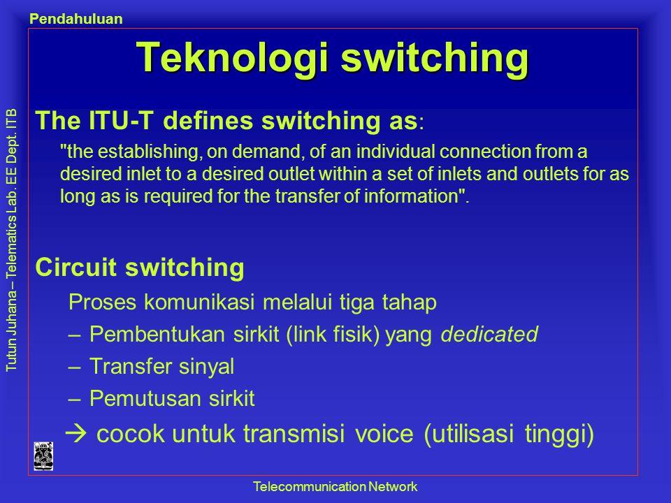 Tutun Juhana – Telematics Lab. EE Dept. ITB Pendahuluan Telecommunication Network Teknologi switching The ITU-T defines switching as :