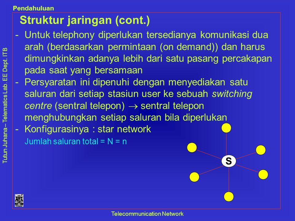 Tutun Juhana – Telematics Lab. EE Dept. ITB Pendahuluan Telecommunication Network Struktur jaringan (cont.) -Untuk telephony diperlukan tersedianya ko