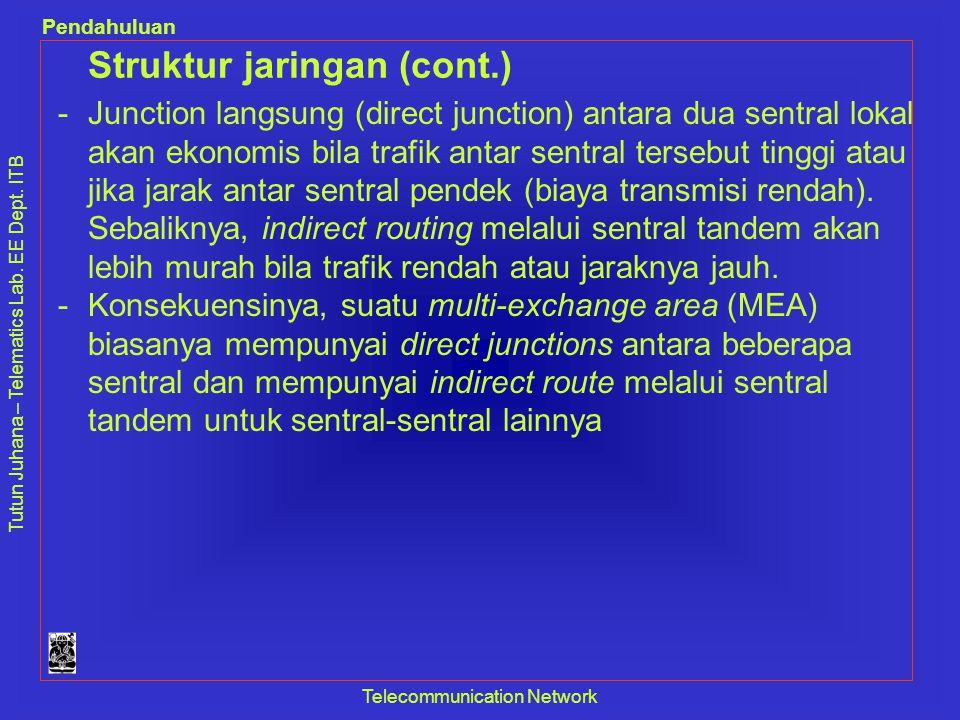 Tutun Juhana – Telematics Lab. EE Dept. ITB Pendahuluan Telecommunication Network Struktur jaringan (cont.) -Junction langsung (direct junction) antar