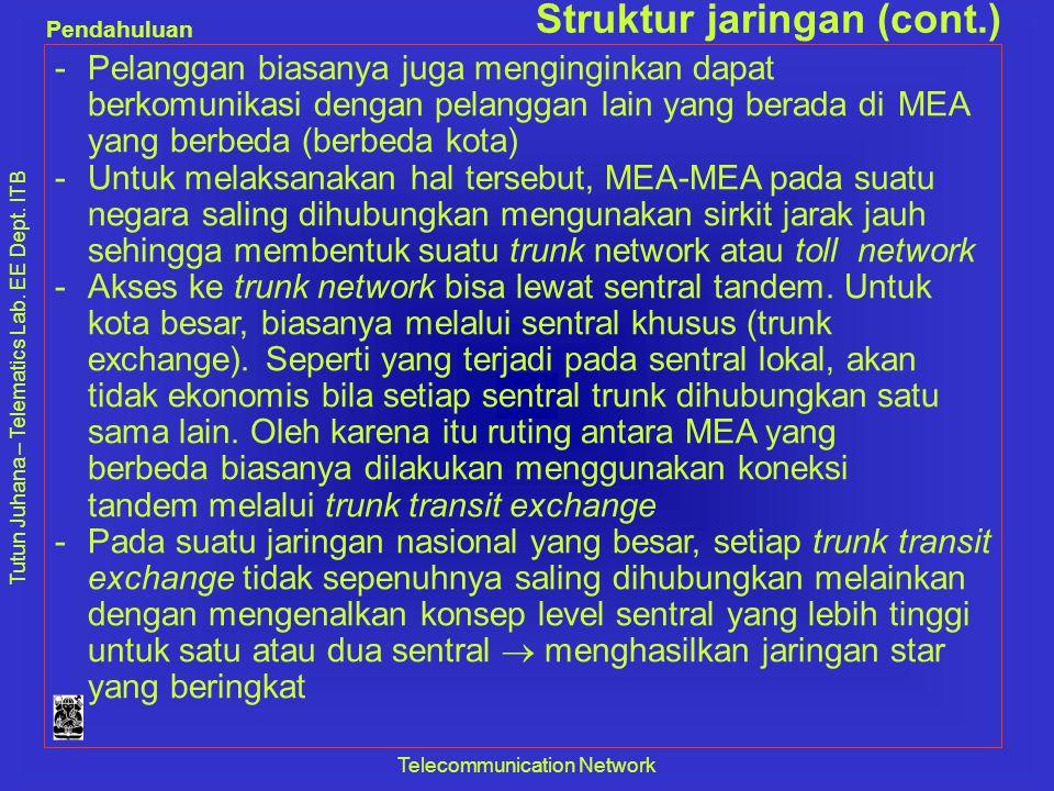 Tutun Juhana – Telematics Lab. EE Dept. ITB Pendahuluan Telecommunication Network Struktur jaringan (cont.) -Pelanggan biasanya juga menginginkan dapa