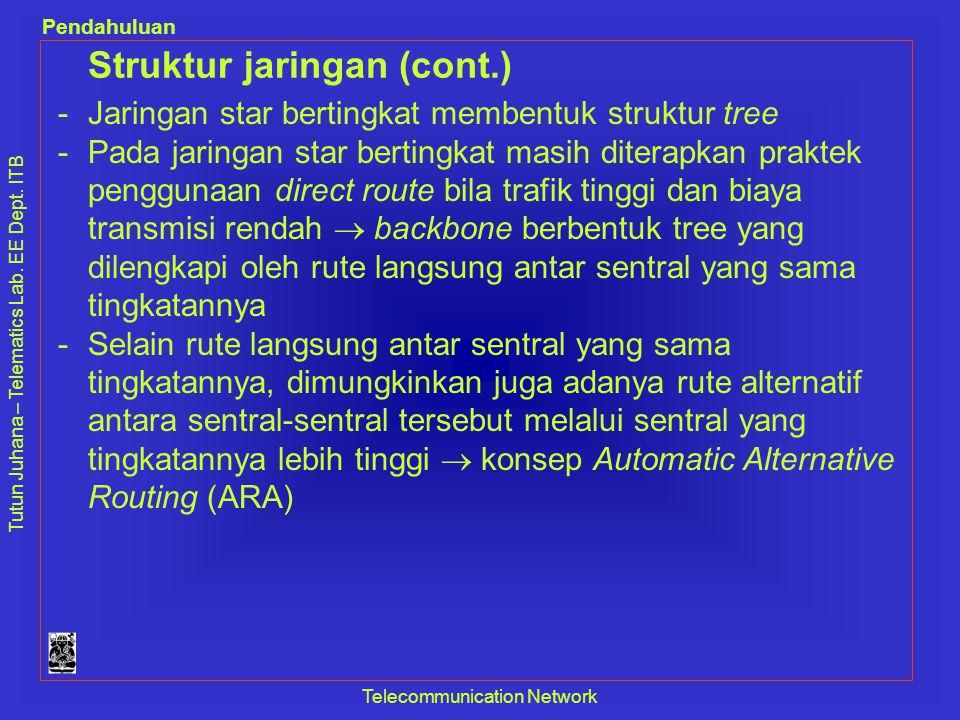 Tutun Juhana – Telematics Lab. EE Dept. ITB Pendahuluan Telecommunication Network Struktur jaringan (cont.) -Jaringan star bertingkat membentuk strukt