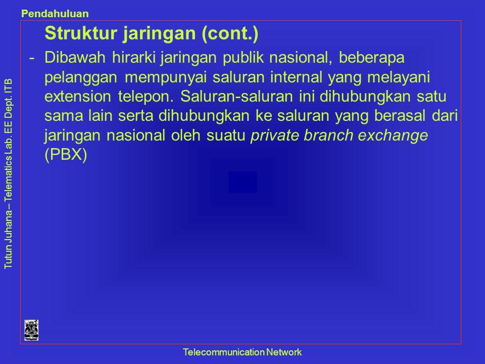 Tutun Juhana – Telematics Lab. EE Dept. ITB Pendahuluan Telecommunication Network Struktur jaringan (cont.) -Dibawah hirarki jaringan publik nasional,