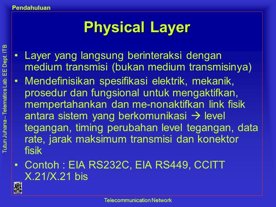 Tutun Juhana – Telematics Lab. EE Dept. ITB Pendahuluan Telecommunication Network Physical Layer •Layer yang langsung berinteraksi dengan medium trans
