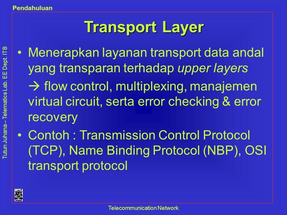 Tutun Juhana – Telematics Lab. EE Dept. ITB Pendahuluan Telecommunication Network Transport Layer •Menerapkan layanan transport data andal yang transp
