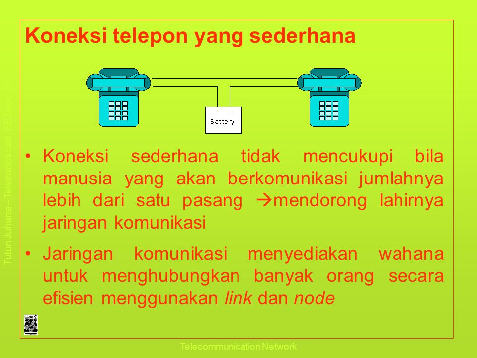 Tutun Juhana – Telematics Lab. EE Dept. ITB Pendahuluan Telecommunication Network Koneksi telepon yang sederhana •Koneksi sederhana tidak mencukupi bi