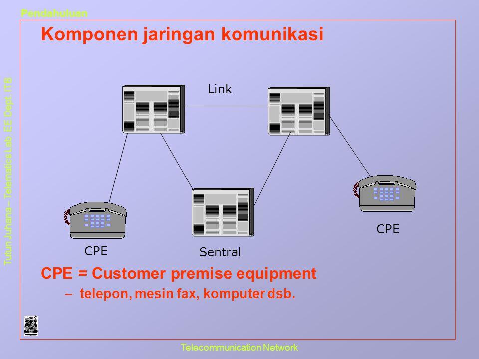 Tutun Juhana – Telematics Lab. EE Dept. ITB Pendahuluan Telecommunication Network Komponen jaringan komunikasi CPE = Customer premise equipment –telep