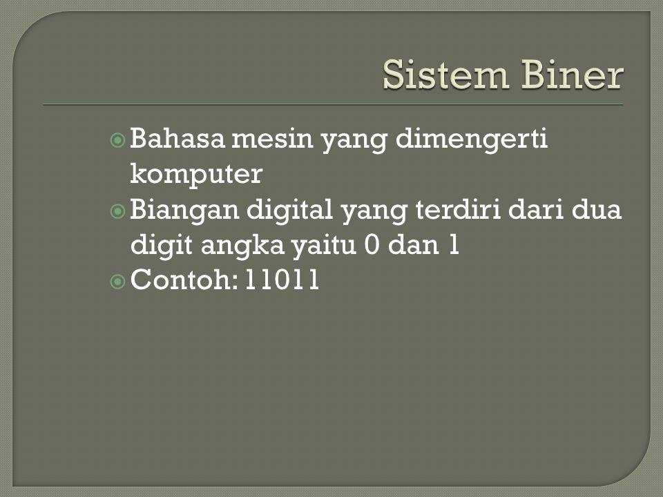  Bahasa mesin yang dimengerti komputer  Biangan digital yang terdiri dari dua digit angka yaitu 0 dan 1  Contoh: 11011