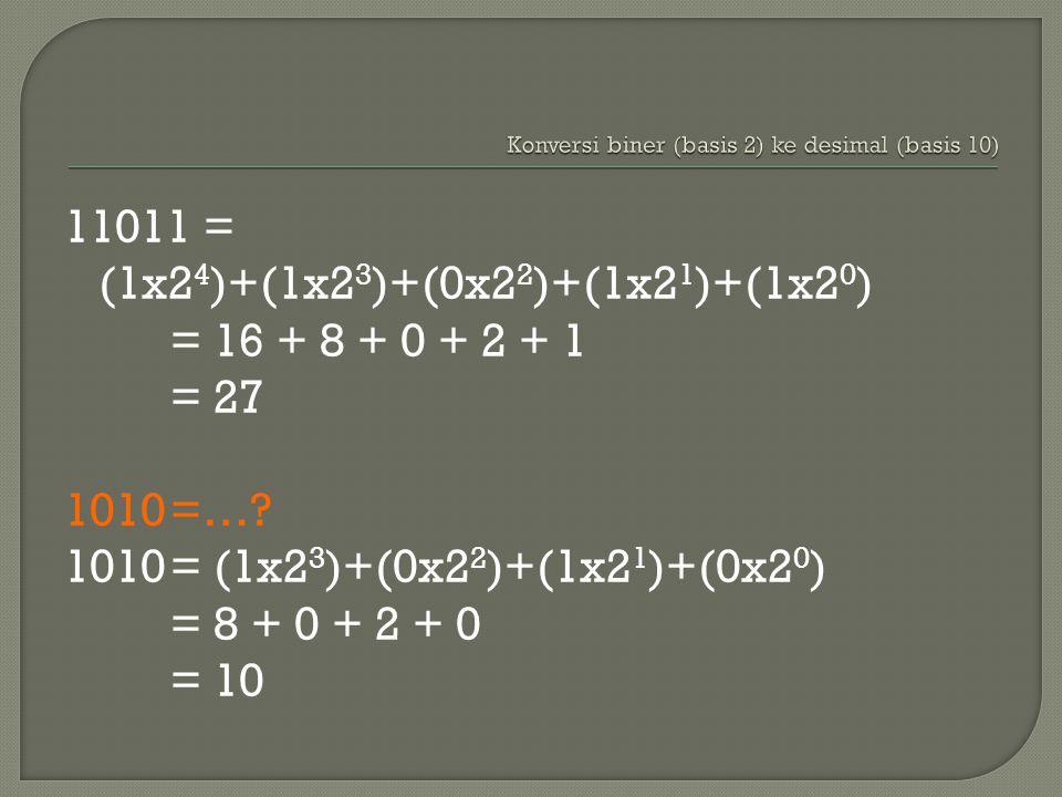 11011 = (1x2 4 )+(1x2 3 )+(0x2 2 )+(1x2 1 )+(1x2 0 ) = 16 + 8 + 0 + 2 + 1 = 27 1010=….