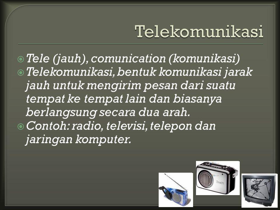  Tele (jauh), comunication (komunikasi)  Telekomunikasi, bentuk komunikasi jarak jauh untuk mengirim pesan dari suatu tempat ke tempat lain dan biasanya berlangsung secara dua arah.