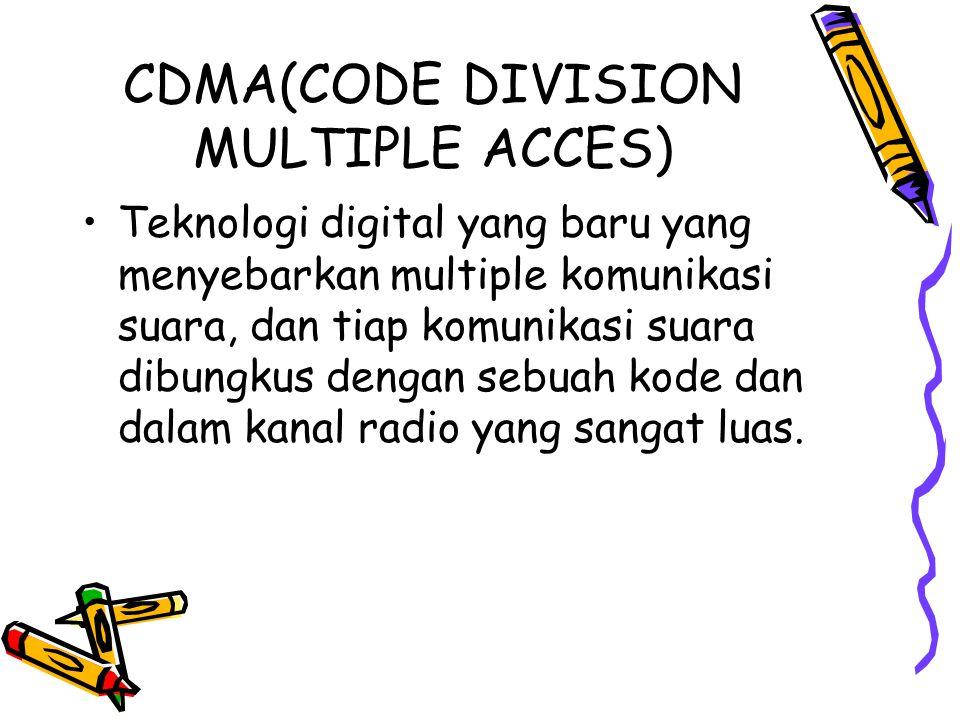 CDMA(CODE DIVISION MULTIPLE ACCES) •Teknologi digital yang baru yang menyebarkan multiple komunikasi suara, dan tiap komunikasi suara dibungkus dengan sebuah kode dan dalam kanal radio yang sangat luas.