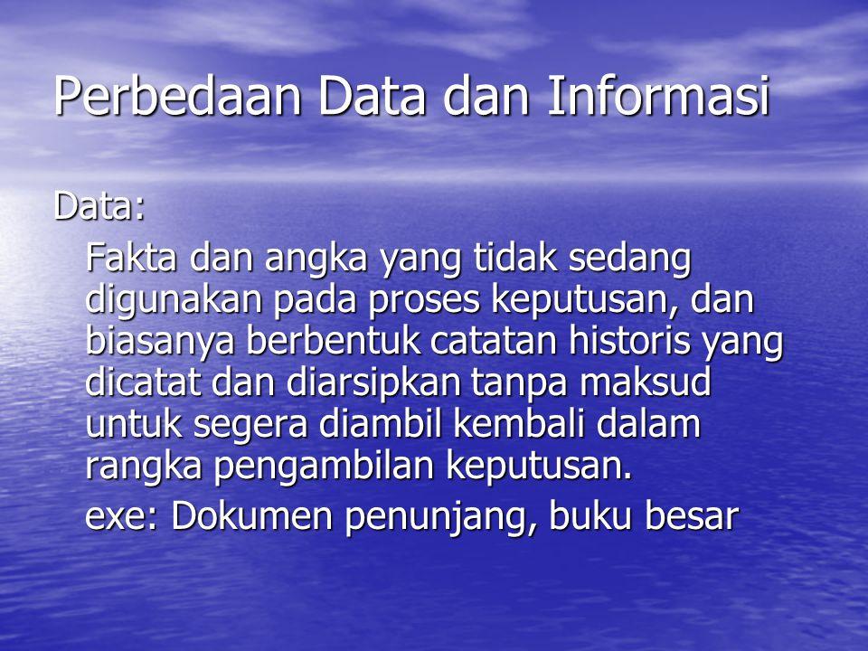 Perbedaan Data dan Informasi Data: Fakta dan angka yang tidak sedang digunakan pada proses keputusan, dan biasanya berbentuk catatan historis yang dicatat dan diarsipkan tanpa maksud untuk segera diambil kembali dalam rangka pengambilan keputusan.
