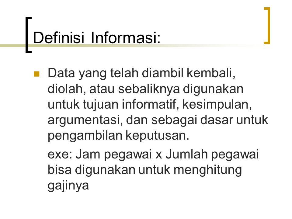 Sumber Bacaan  Simkin (1987: 8) menyatakan bahwa data dan informasi merupakan sesuatu yang berbeda, walaupun keduanya masuk ke dalam kelompok jenis-jenis sumber daya.