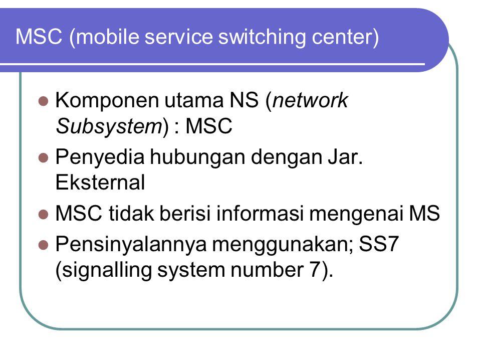 MSC (mobile service switching center)  Komponen utama NS (network Subsystem) : MSC  Penyedia hubungan dengan Jar.