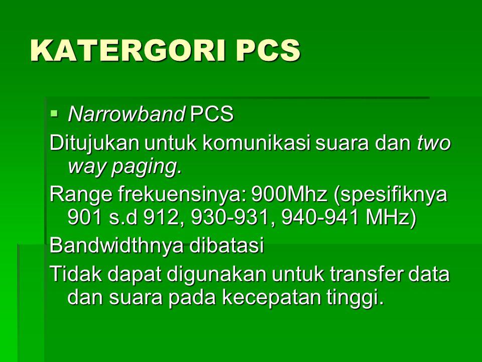 KATERGORI PCS  Narrowband PCS Ditujukan untuk komunikasi suara dan two way paging.