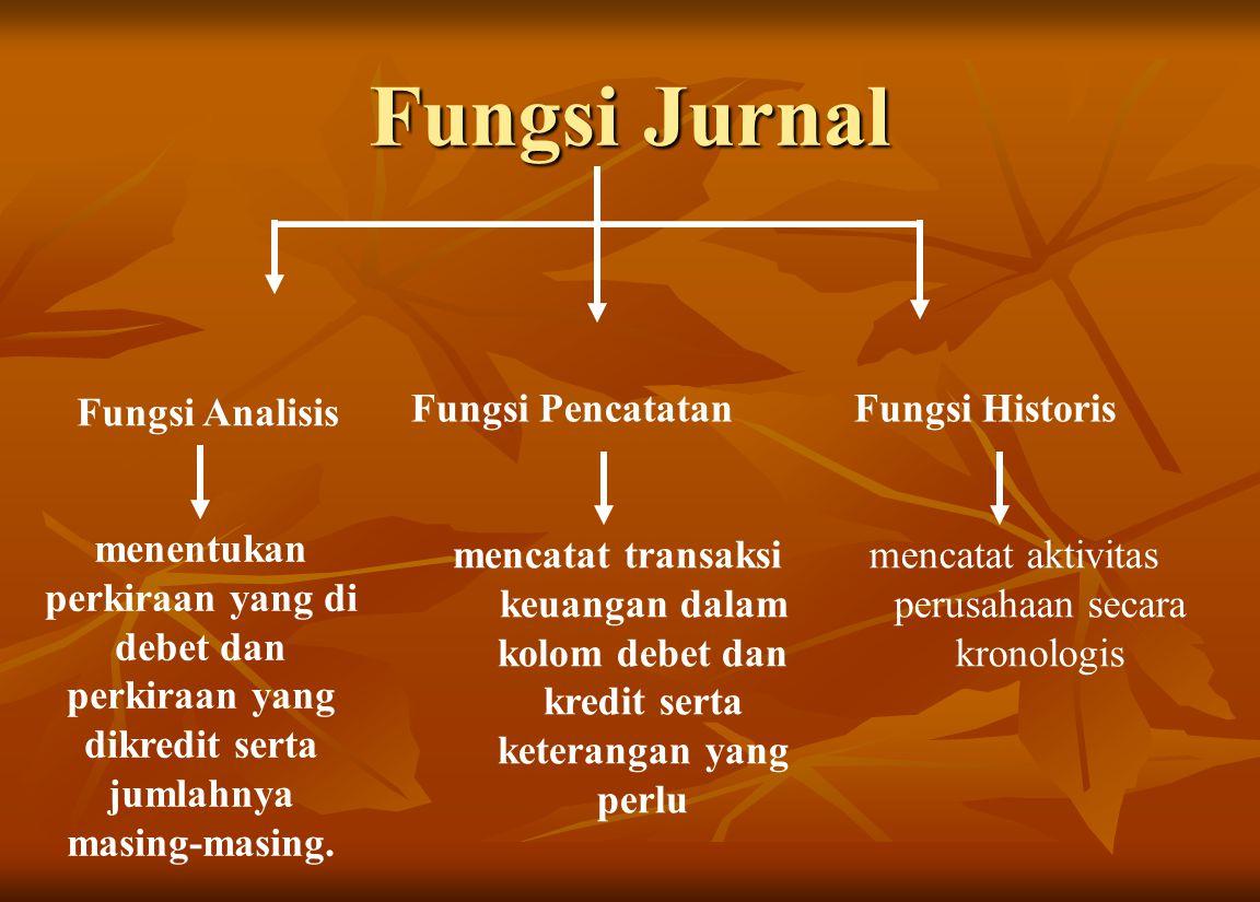 Fungsi Jurnal Fungsi Analisis Fungsi PencatatanFungsi Historis menentukan perkiraan yang di debet dan perkiraan yang dikredit serta jumlahnya masing-m