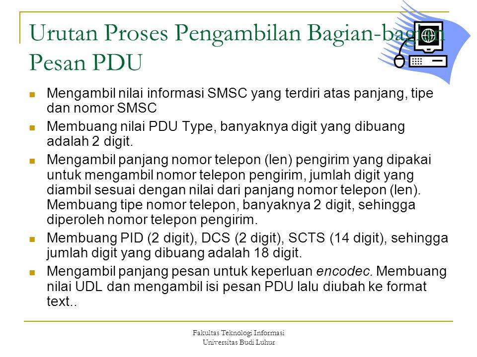 Fakultas Teknologi Informasi Universitas Budi Luhur Urutan Proses Pengambilan Bagian-bagian Pesan PDU  Mengambil nilai informasi SMSC yang terdiri atas panjang, tipe dan nomor SMSC  Membuang nilai PDU Type, banyaknya digit yang dibuang adalah 2 digit.