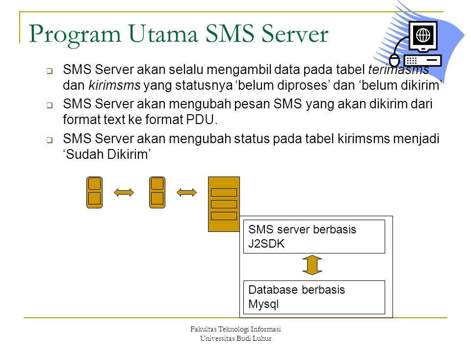 Fakultas Teknologi Informasi Universitas Budi Luhur Program Utama SMS Server  SMS Server akan selalu mengambil data pada tabel terimasms dan kirimsms yang statusnya 'belum diproses' dan 'belum dikirim'  SMS Server akan mengubah pesan SMS yang akan dikirim dari format text ke format PDU.