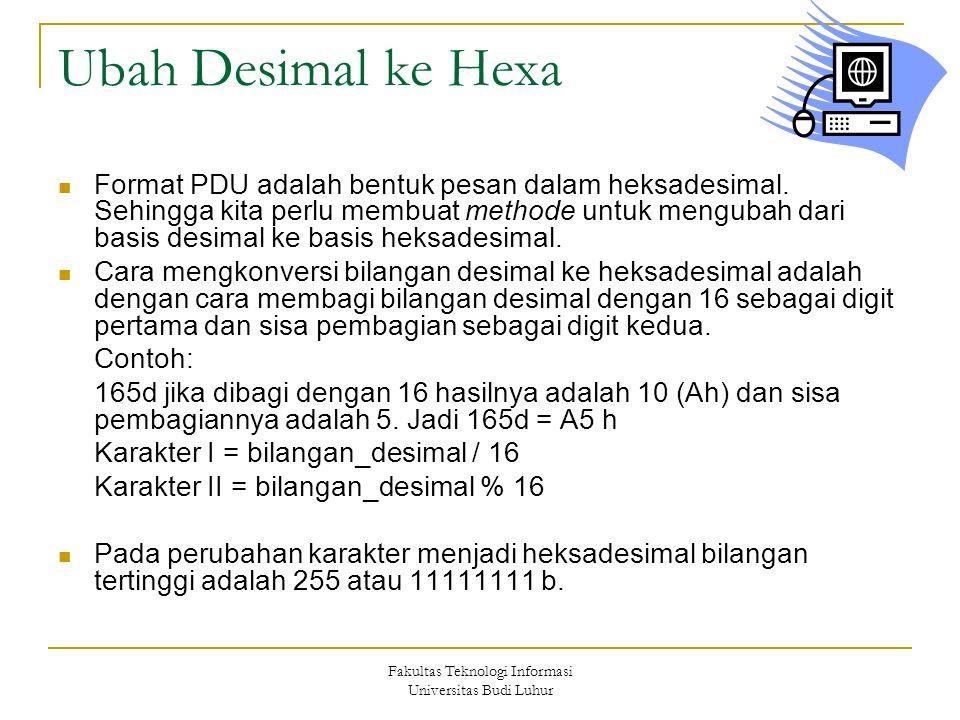 Fakultas Teknologi Informasi Universitas Budi Luhur Ubah Desimal ke Hexa  Format PDU adalah bentuk pesan dalam heksadesimal.