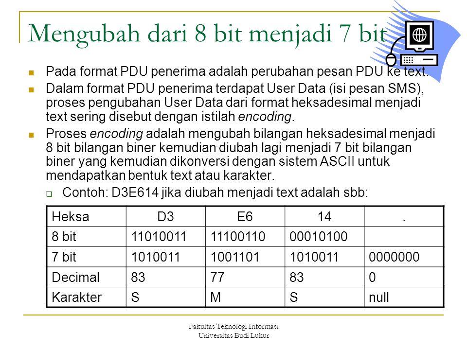 Fakultas Teknologi Informasi Universitas Budi Luhur Mengubah dari 8 bit menjadi 7 bit  Pada format PDU penerima adalah perubahan pesan PDU ke text.