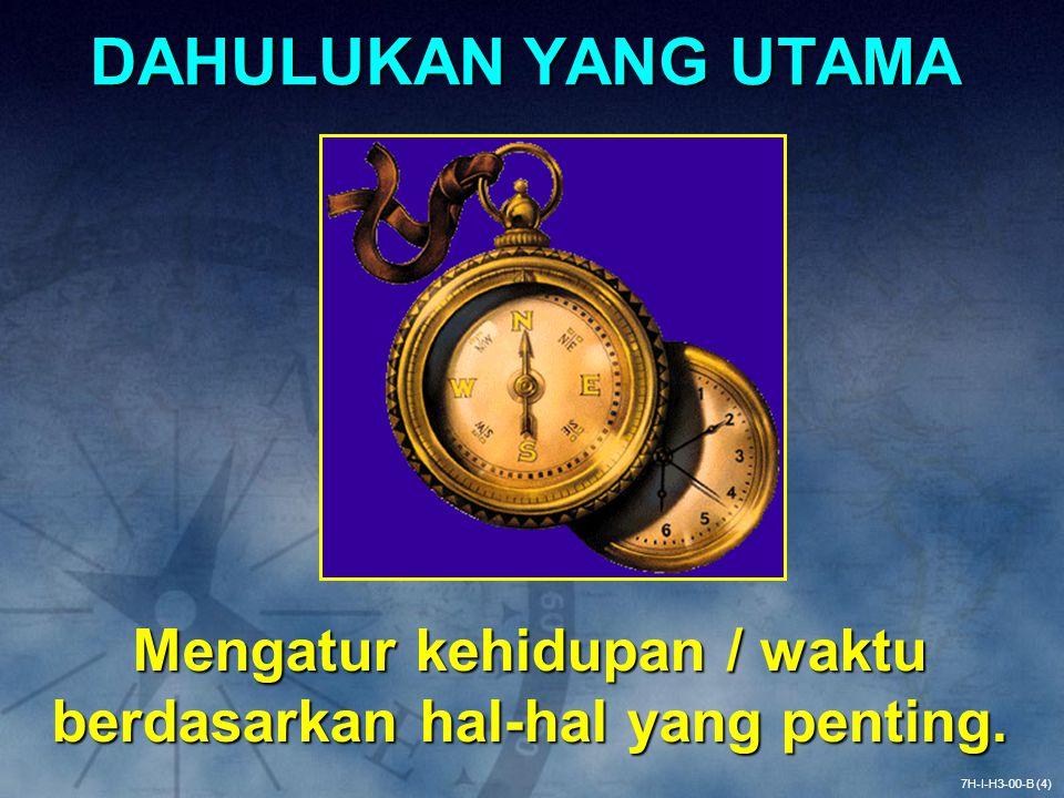 Matriks Manajemen Waktu 7H-I-H3-00-C (5) •Penting: PENTING TAK PENTING Hal-hal yang mendukung Misi / Visi kita •Mendesak: MENDESAK TAK MENDESAK (tampaknya) memerlukan Tindakan Segera III IIIIV