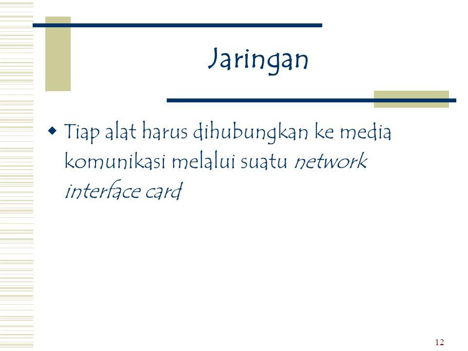12 Jaringan  Tiap alat harus dihubungkan ke media komunikasi melalui suatu network interface card
