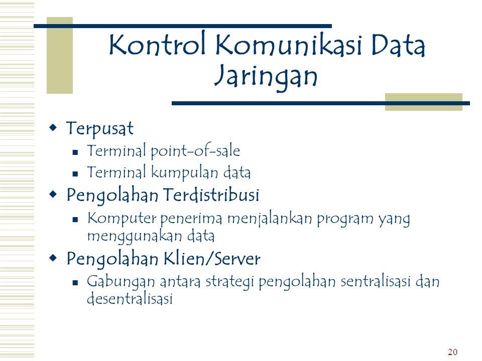 20 Kontrol Komunikasi Data Jaringan  Terpusat  Terminal point-of-sale  Terminal kumpulan data  Pengolahan Terdistribusi  Komputer penerima menjal