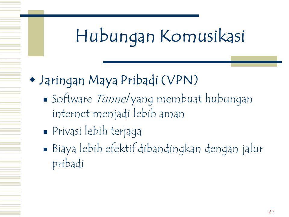 27 Hubungan Komusikasi  Jaringan Maya Pribadi (VPN)  Software Tunnel yang membuat hubungan internet menjadi lebih aman  Privasi lebih terjaga  Bia