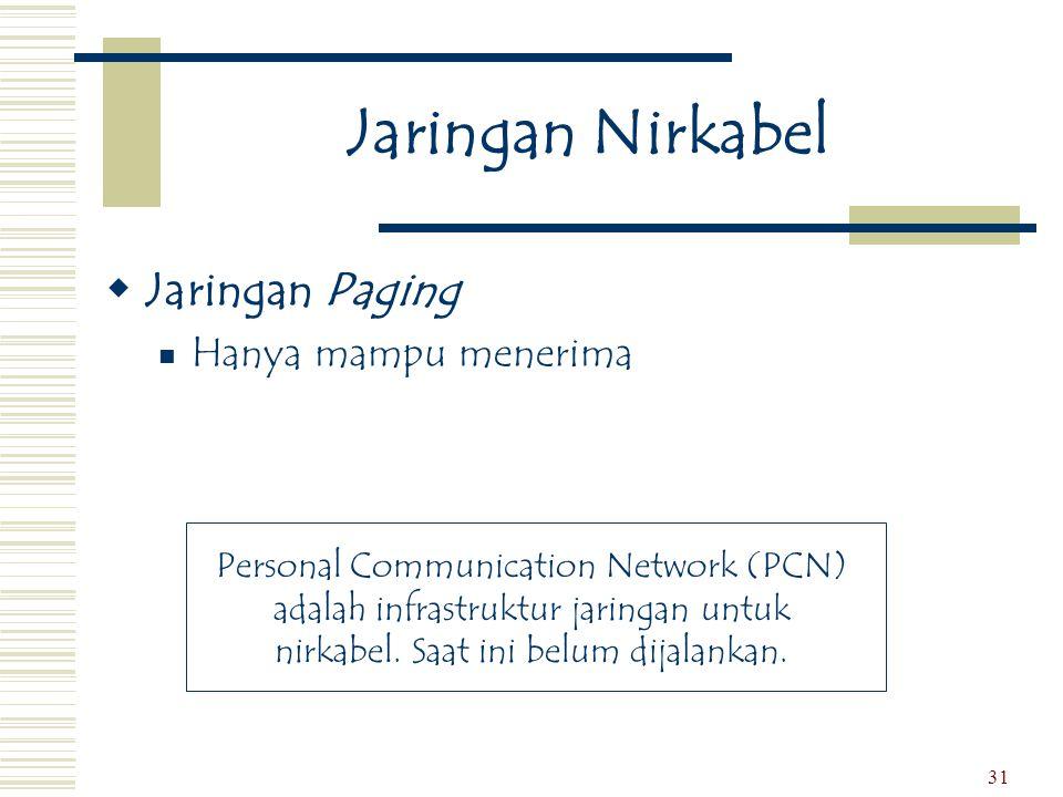 31 Jaringan Nirkabel  Jaringan Paging  Hanya mampu menerima Personal Communication Network (PCN) adalah infrastruktur jaringan untuk nirkabel. Saat