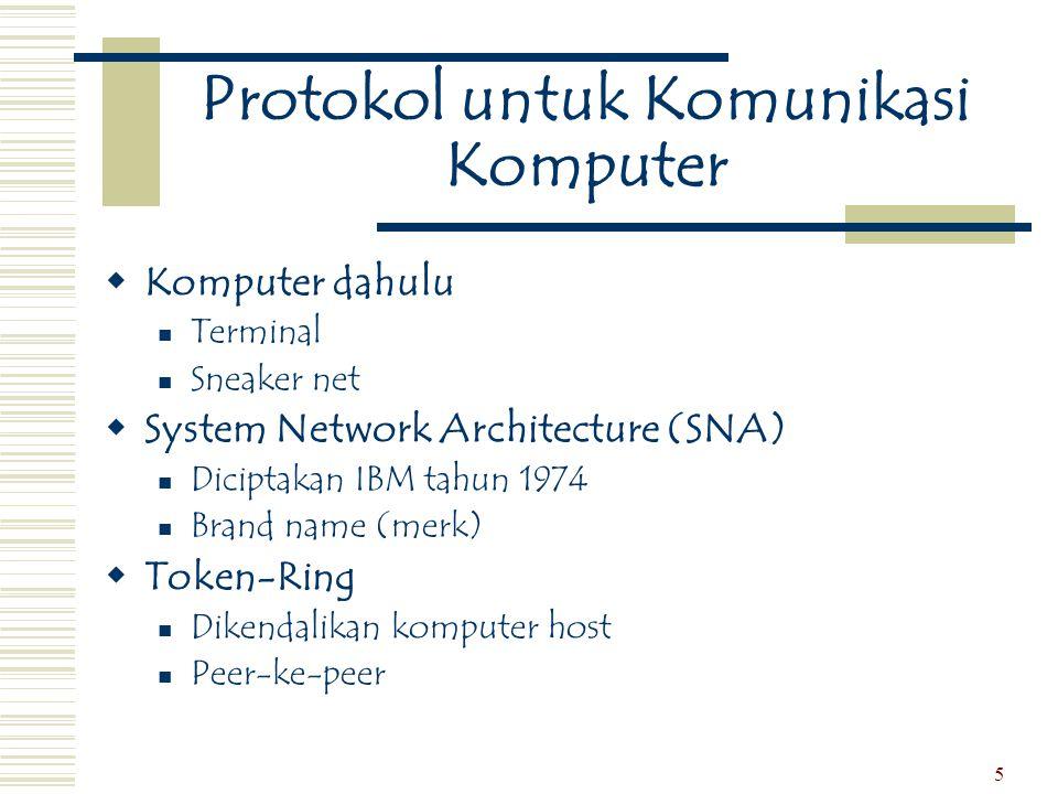 5 Protokol untuk Komunikasi Komputer  Komputer dahulu  Terminal  Sneaker net  System Network Architecture (SNA)  Diciptakan IBM tahun 1974  Bran